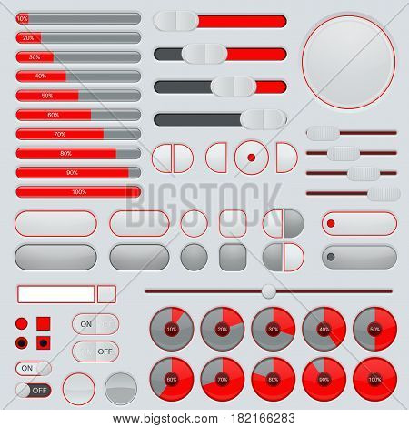 Set of interface buttons. Red and gray collection. Slider, progress bars. Vector illustration