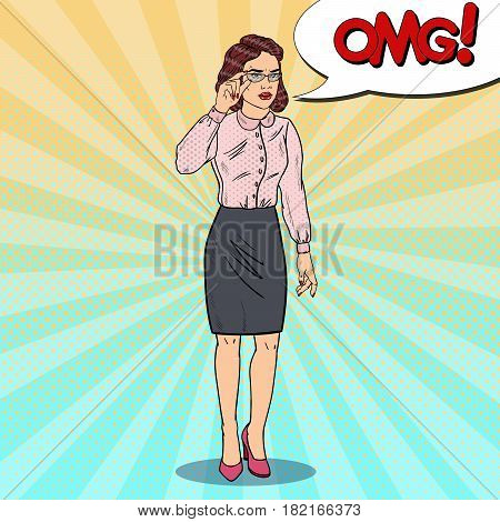Worried Business Woman in Eyeglasses. Pop Art Vector illustration