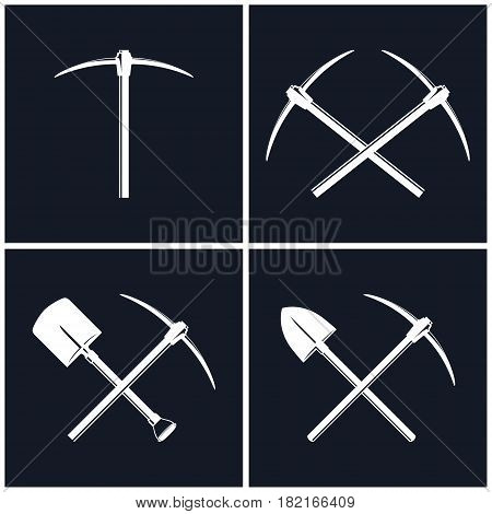White Tools for Excavation Isolated on Black Background, Two Crossed Pickaxes and Crossed Shovel with Pickaxe, Mining Industry, Black and White Vector Illustration