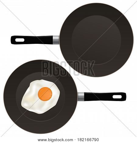 Fried egg on frying pan. Vector illustration isolated on white background