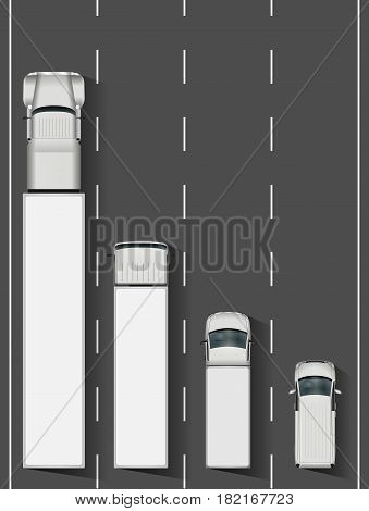 Trucks on the road vector illustration. Highway with cargo vehicles from top view. All layers and groups well organized for easy editing and recolor.