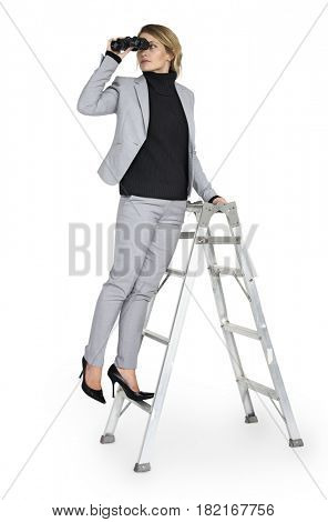 Caucasian Lady Binoculars Ladder