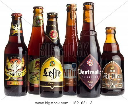 GRONINGEN, NETHERLANDS - APRIL 15, 2017: Collection of Grimbergen, Brugse Zot, Leffe, Affligem, Val-Dieu and Westmalle double beers isolated on a white background