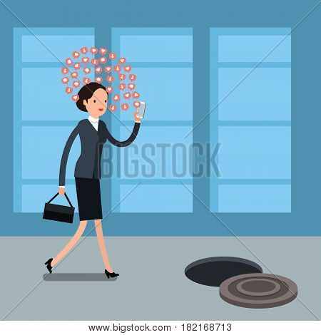 Concept of Smartphone addiction. Business woman walking on the street, looking at the screen of her phone. Flat design, vector illustration.