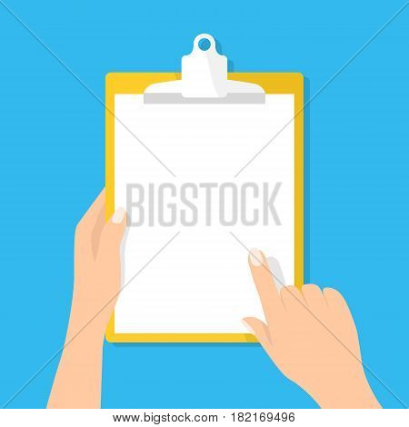 Hand holding clipboard. Vector illustration isolated on blue. White blank vertically sheet of paper on pad. Mockup for advertisement, information, presentation, survey,  message, banner. Flat design.