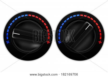 Car air flow selector. Black plastic switch. Vector illustration isolated on white background