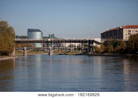Bridges Over The Neris River In Vilnius