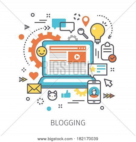 Concept of blogging. Open notebook with blog and icons in the style of line art. Flat design, lineart vector illustration