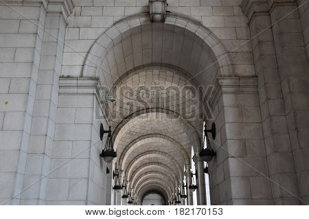 WASHINGTON, DC - APR 15: Union Station in Washington, DC, as seen on April 15, 2017. Opened in 1907, it is Amtrak's headquarters and the railroad's second-busiest station with annual ridership of just under 5 million.