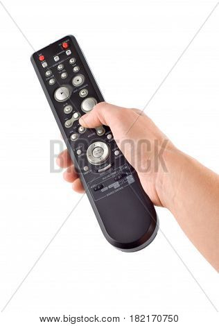 Remote controller in a hand Isolated on white background