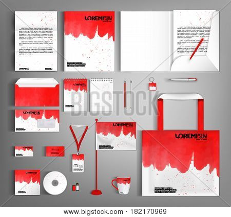 White corporate identity template design with red wavy spots. Business set stationery, brochure, card, letterhead, catalog, pennants. Suitable for brand advertising