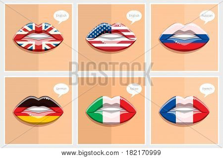 Learning languages concept. Open lips with flags. Learning English, American, French, German, Italian, Russian languages. Flat design vector illustration