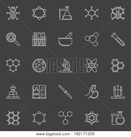 Chemical line icons collection - vector chemistry symbols or logo elements on dark background