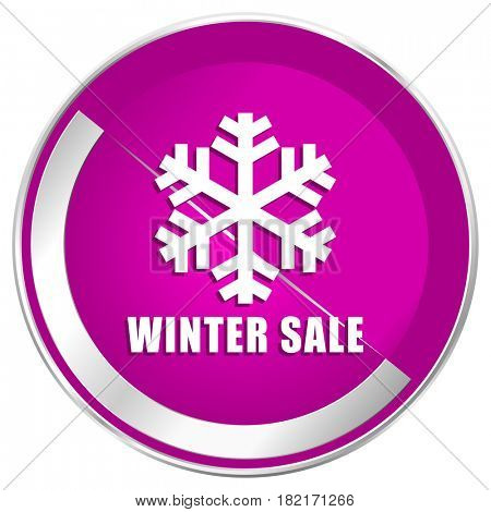 Winter sale web design violet silver metallic border internet icon.