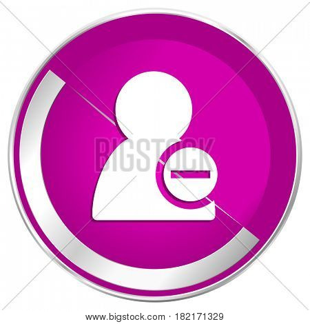 Remove contact web design violet silver metallic border internet icon.