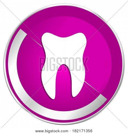 Tooth web design violet silver metallic border internet icon.