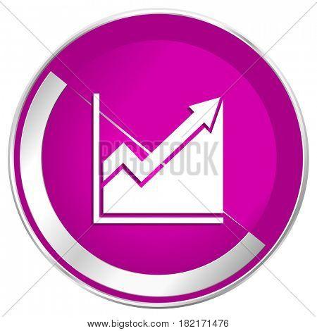 Histogram web design violet silver metallic border internet icon.
