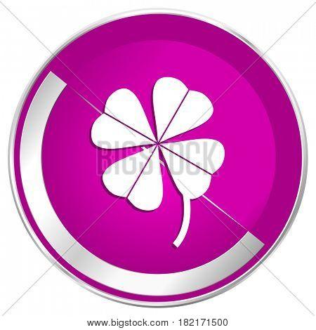 Four-leaf clover web design violet silver metallic border internet icon.
