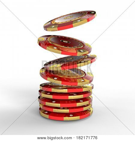 red and gold luxury diamond chip casino 3d rendering image