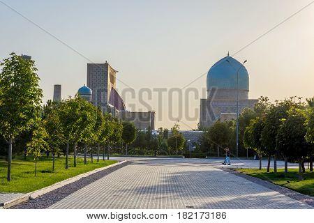Samarkand Registan With Park, Uzbekistan