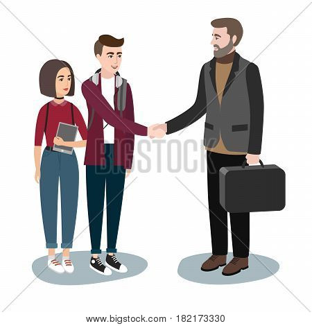 Young girls and boys in casual clothes Shake hands with an adult men in a suit. Fashion modern students. Vector illustration of a flat design. stylish girls. Hipster studentgroup. Trendy youth woman.