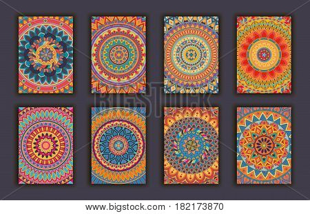 Collection Retro Cards. Ethnic Backgrounds. Card Of Invitation.