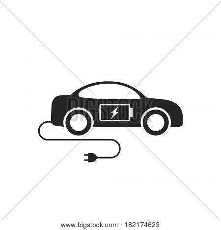 Electric car icon flat. Black eco car symbol on white background. Vector illustration.
