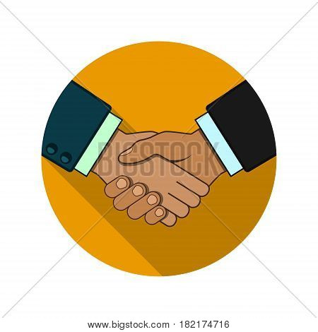 Shaking hands business vector illustration symbol of success deal happy partnership greeting shake casual handshaking agreement round color sign.