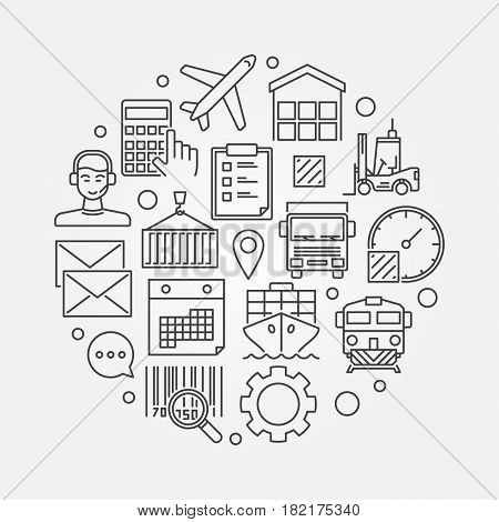 Logistics round illustration - vector thin line shipping and delivery concept sign