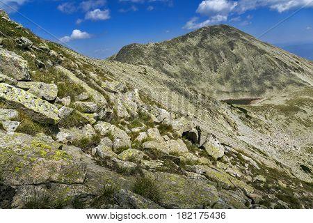 Amazing view of Polezhian peak and Upper Polezhan Lake, Pirin Mountain, Bulgaria
