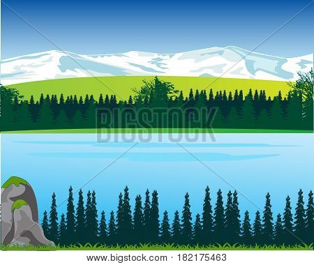 Beautiful landscape with river and mountain.Vector illustration