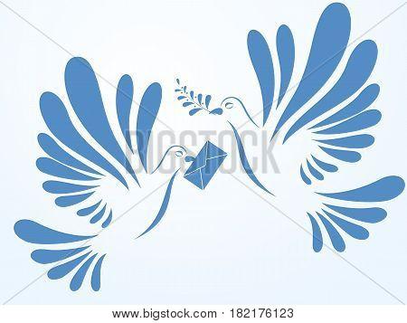 Vector doves. Illustration of two doves flying. Stylized birds.