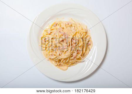 Pasta Carbonara With Ham And Cheese,spaghetti Carbonara With Baked Ham And Parmesan