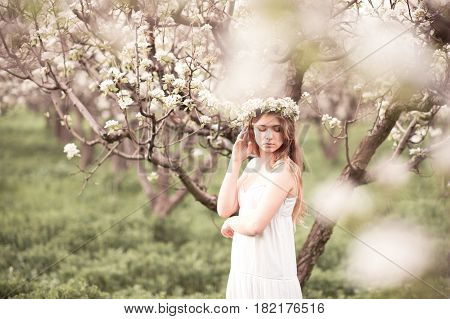 Young beautiful teen girl 14-16 year old posing in apple orchard. Wearing white elegant dress. Summer time.