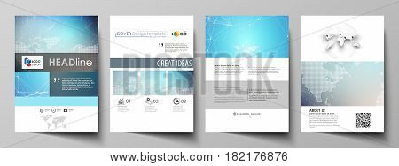 The vector illustration of the editable layout of A4 format covers design templates for brochure, magazine, flyer, booklet, report. Molecule structure. Science, technology concept. Polygonal design