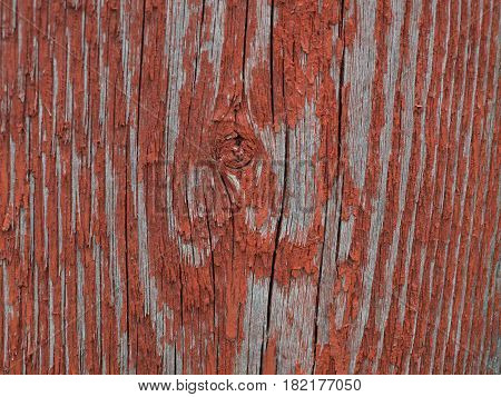 Texture of old red painted wooden surface