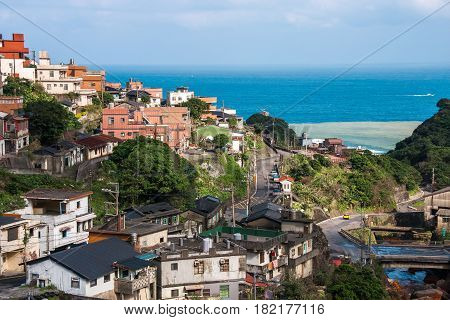View of Jiufen village on a sunny day in Taiwan