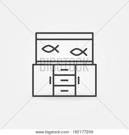 Aquarium on the table icon. Vector fish tank minimal symbol or logo element in thin line style