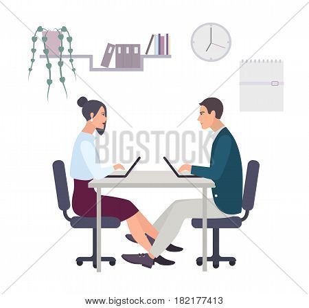 Concept for office romance, flirting at work, love-affair. Couple, man and woman working at the laptop. Colorful vector illustration in flat style