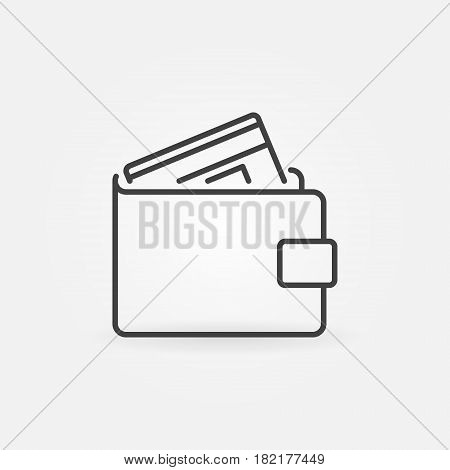 Wallet with credit icon - vector money concept symbol or logo element in thin line style