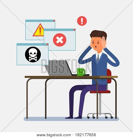 Concept of computer viruses, system errors. Cartoon business man sitting at the table and working on the computer. Flat design, vector illustration.