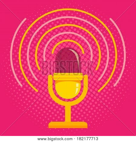 Vintage vector illustration of retro microphone and loud sound. Microphone on pink halftone background