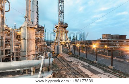 Chemical plant for production of ammonia and nitrogen fertilization on evening time.