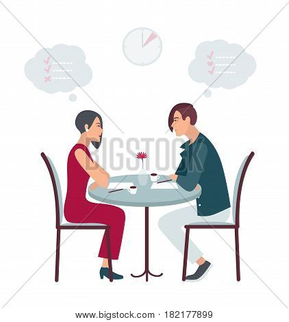 Speed dating, date at the cafe. Flat vector illustration