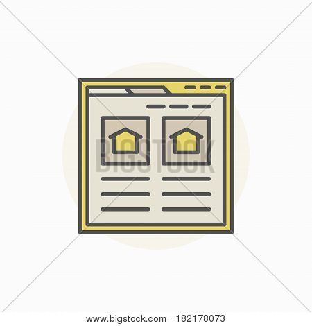 Searching house via internet icon. Vector find real estate colorful sign