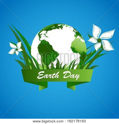 Earth day vector background. Template for holiday design. Environmental illustration with tree. Vector concept. Eps10