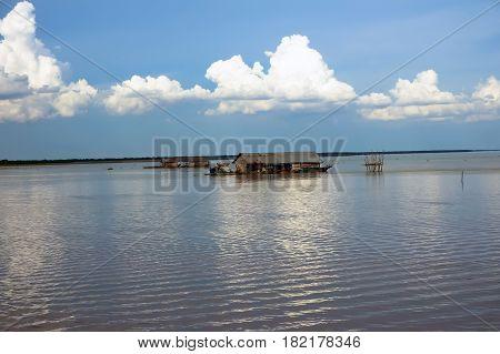 Floating Village On Tonle Sap Lake Cambodia.