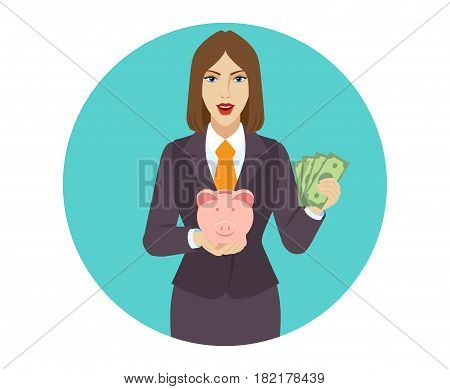 Businesswoman holding a piggy bank and showing cash money. Portrait of businesswoman in a flat style. Vector illustration.