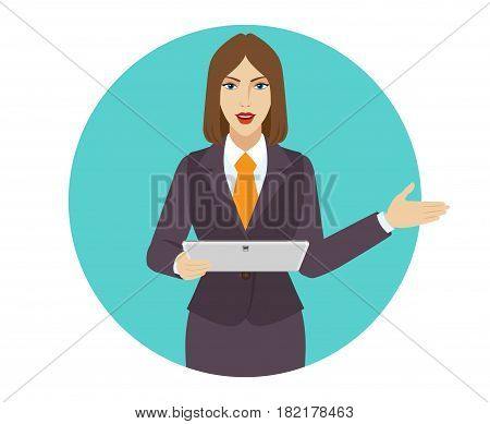 Businesswoman holding a digital tablet PC and showing something beside of him. Portrait of businesswoman in a flat style. Vector illustration.