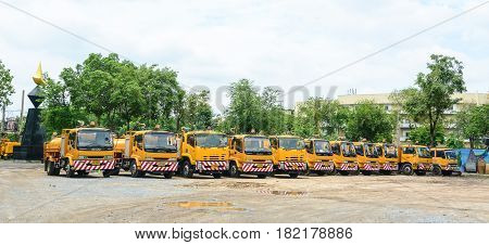 Big Yellow Dump Trucks At The Parking Lot